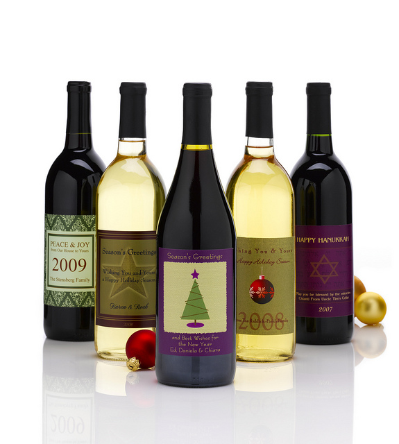 custom holiday wine labels