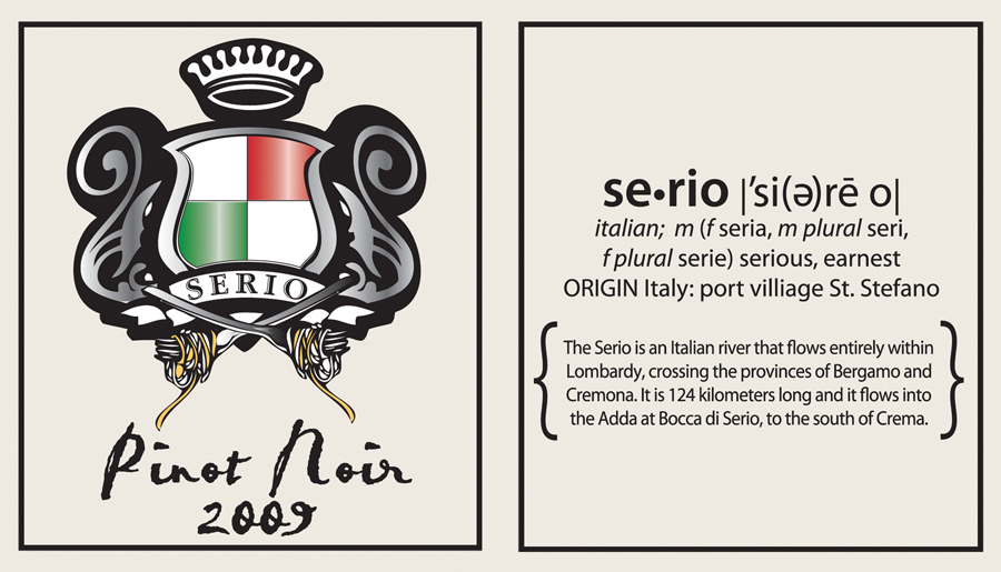family crest wine label, front and back labels
