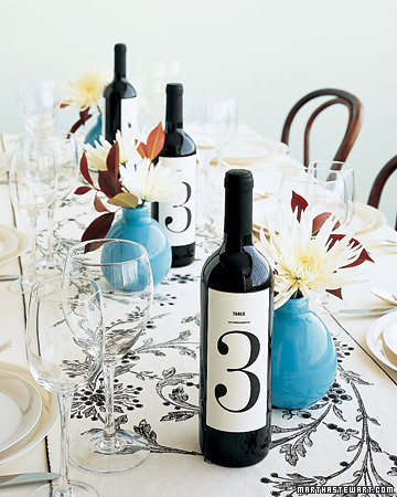 customized wedding wine labels as table numbers at your wedding