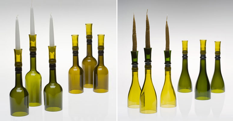 GreenWineBottles.com Candlesticks, recylced wine bottles, repurposed wine bottles