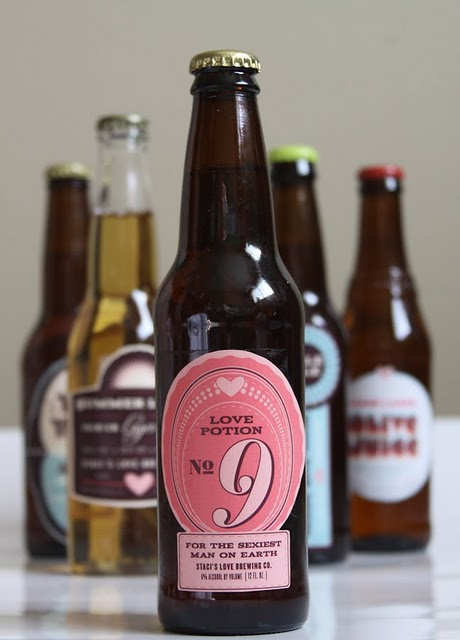 Custom beer labels for Valentine's Day