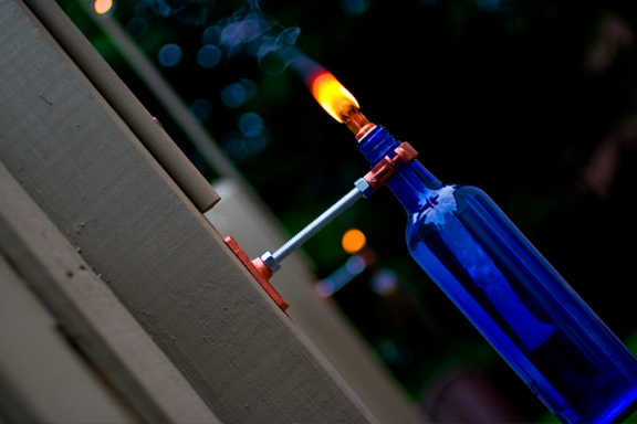 Recycled Wine Bottle Torch Project