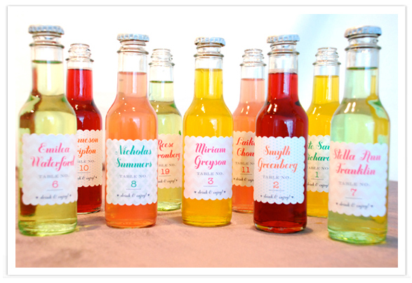 Custom Soda Pop Labels as Wedding Favors and Seating Assigments