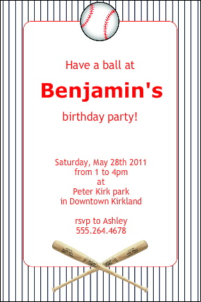 Baseball Themed Birthday Party Invitations and Ideas