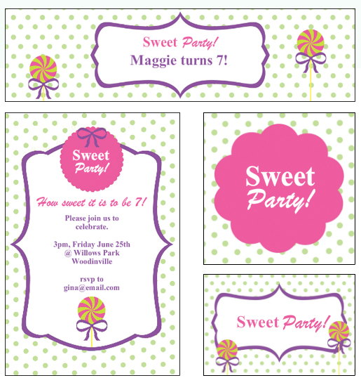 Sweet Candy Party Custom Labels and Invitations from Bottle Your Brand