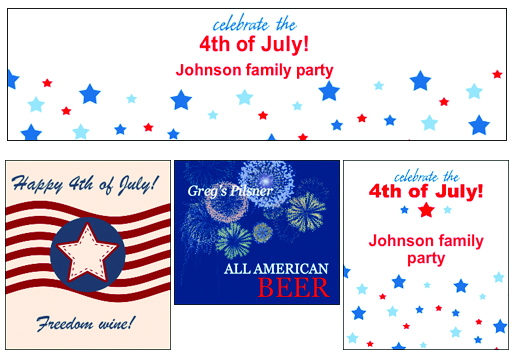4th of July Patriotic Wine, Beer and Water Bottle Labels from Bottle Your Brand