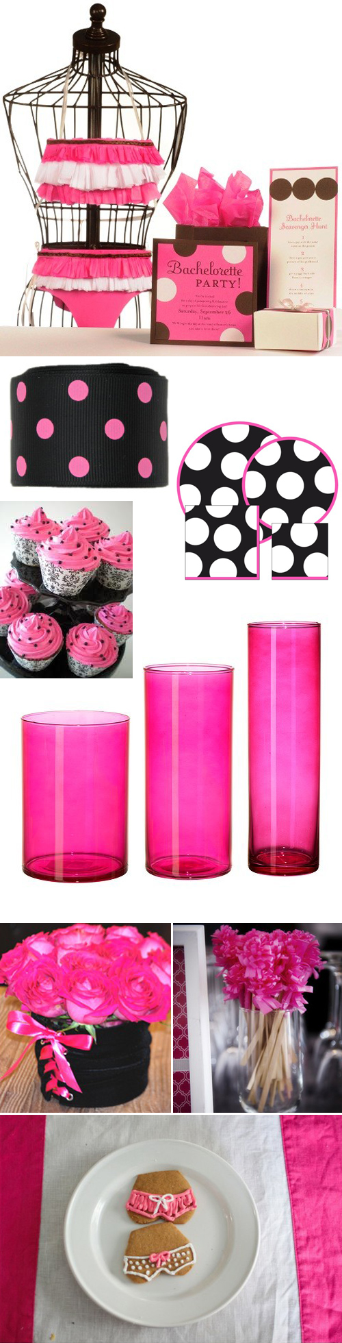 Hot Pink and Black Bachelorette Party Theme and Inspiration Board