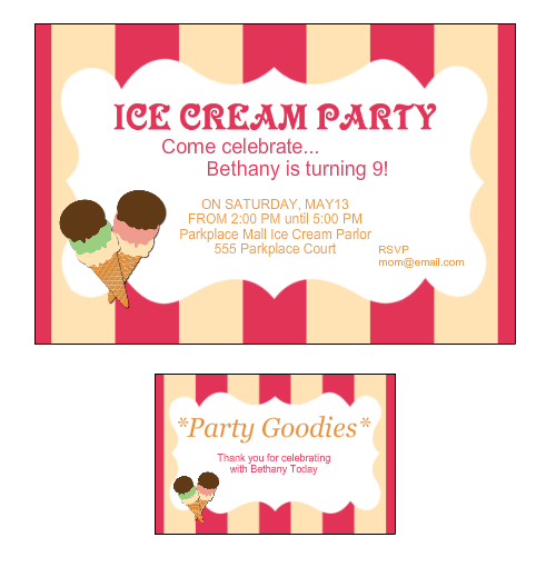 Ice Cream Social Birthday Party Invitation and Custom Label from Bottle Your Brand