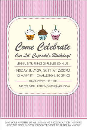 Custom Kid's Birthday Party Invitation - Cupcake Party by Bottle Your Brand