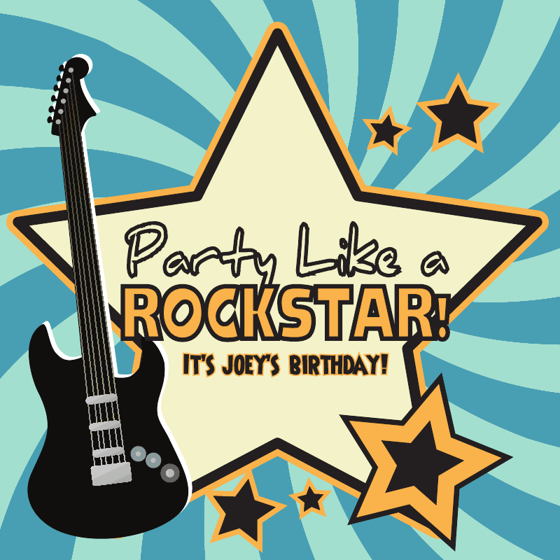 Rock Star Birthday Party Custom Label from Bottle Your Brand