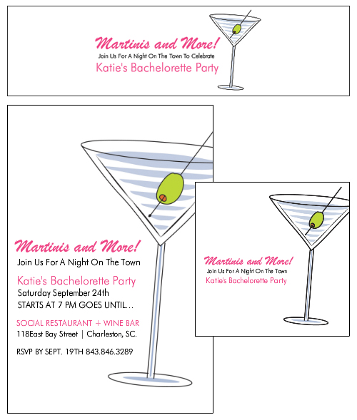 Maritni Night On the Town Bachelorette Party Invitations and Custom Labels from Bottle Your Brand