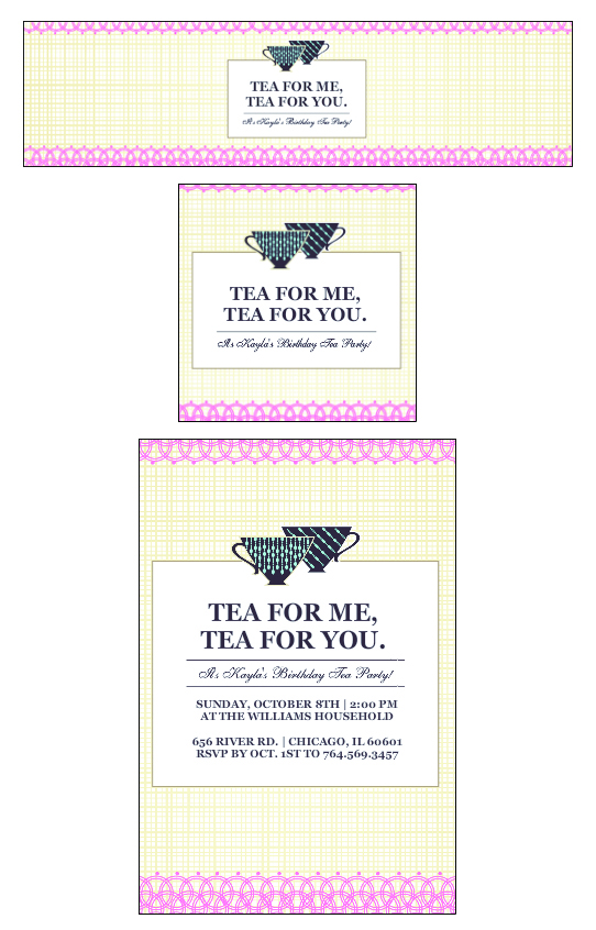 Tea Party Birthday Party custom Personalized Invitation