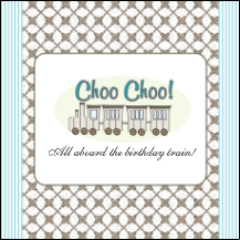 Custom Personalized Kids' Birthday Party Favor Label, Train Theme