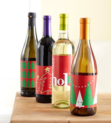custom holiday christmas wine labels