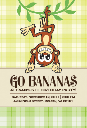 Custom Monkey Go Bananas Birthday Party Invitation