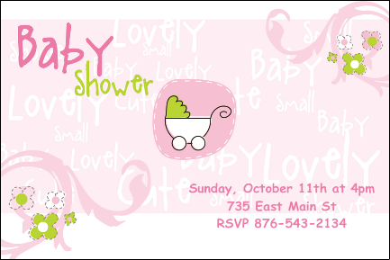 Pink and Green Baby Shower Invitation, Custom, Personalized, Bottle Your Brand
