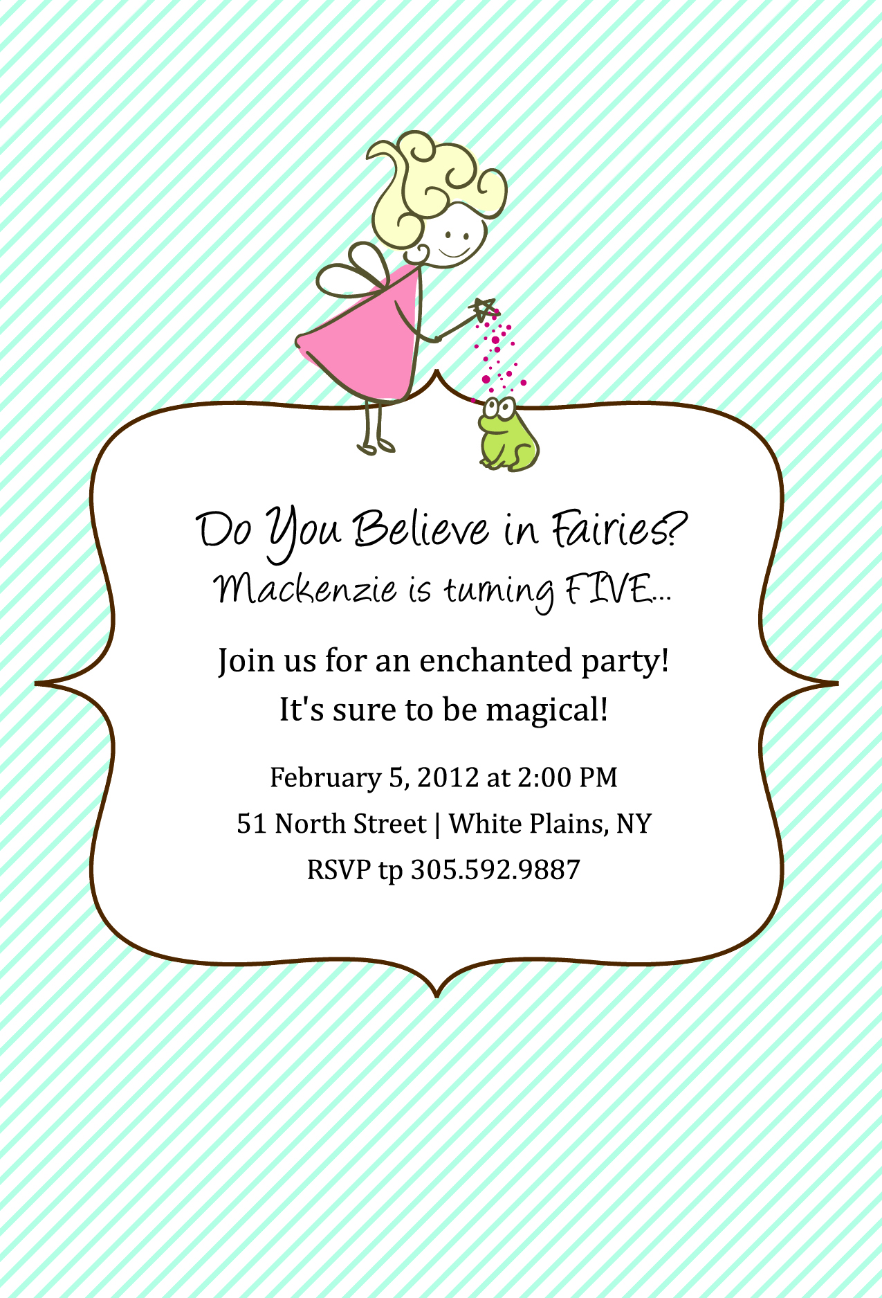 Custom Fairy Birthday Party Invitation and Labels