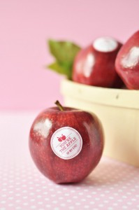 Custom Fruit Labels from Twig and Thistle Shop, Etsy, Valentine's Day