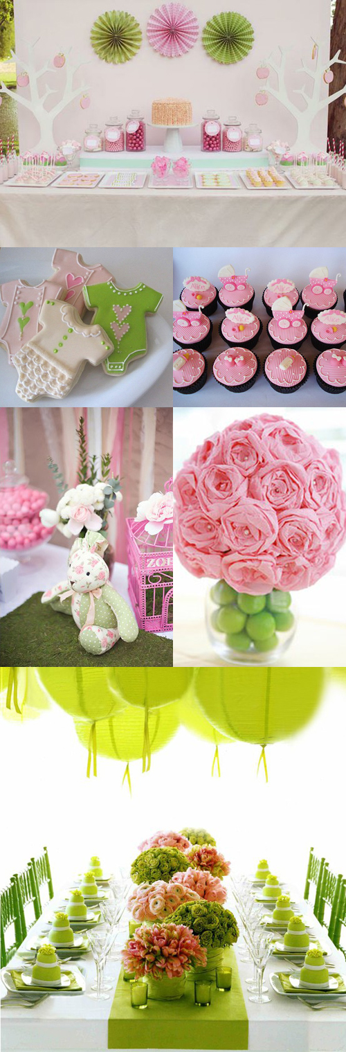 Pink Green Baby Shower