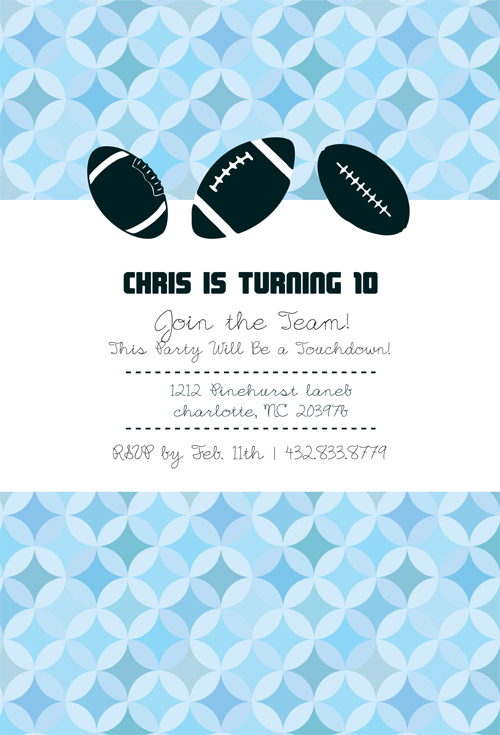 Custom Football Birthday Party Invitation