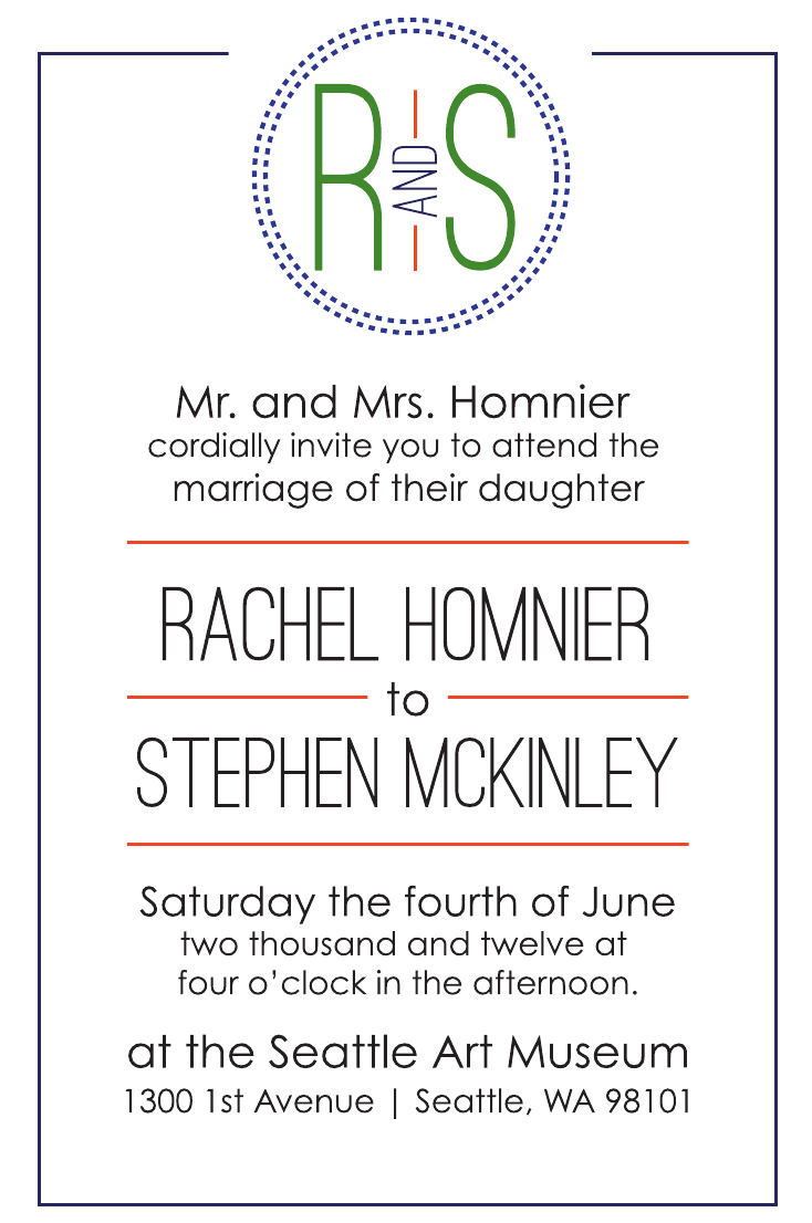 modern wedding monogram custom invitation and custom labels
