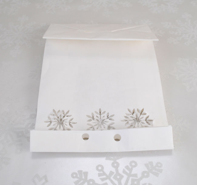 Hole and Snowflake punch placement for DIY holiday food gift bag