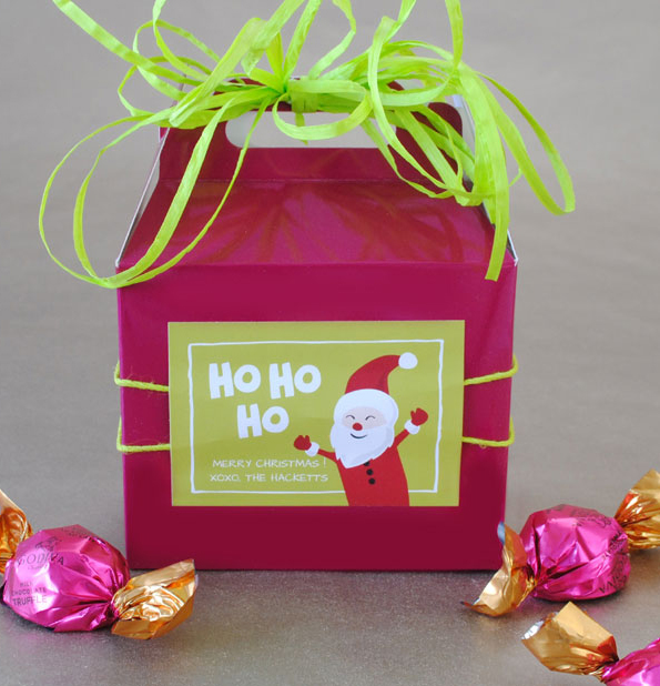 Use gift tag stickers to decorate a mini favor box.