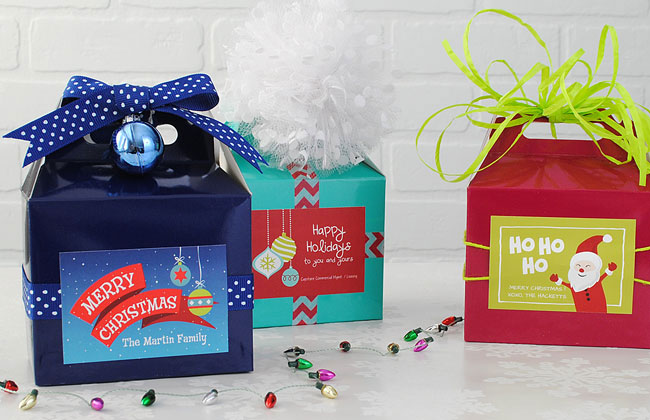 Christmas Party Favor Idea Gable Boxes with Custom Gift Tag Stickers