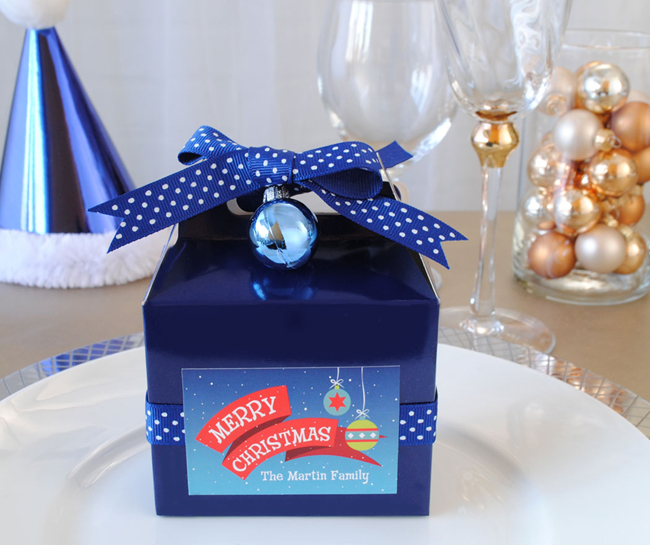 DIY Christmas Party Favors made with gable boxes we found at Target