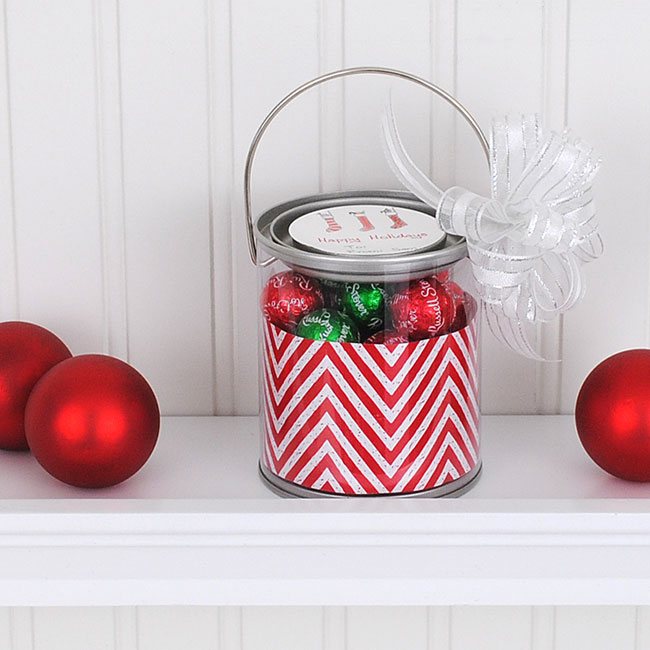 Christmas party favor idea - mini paint can with custom circle sticker