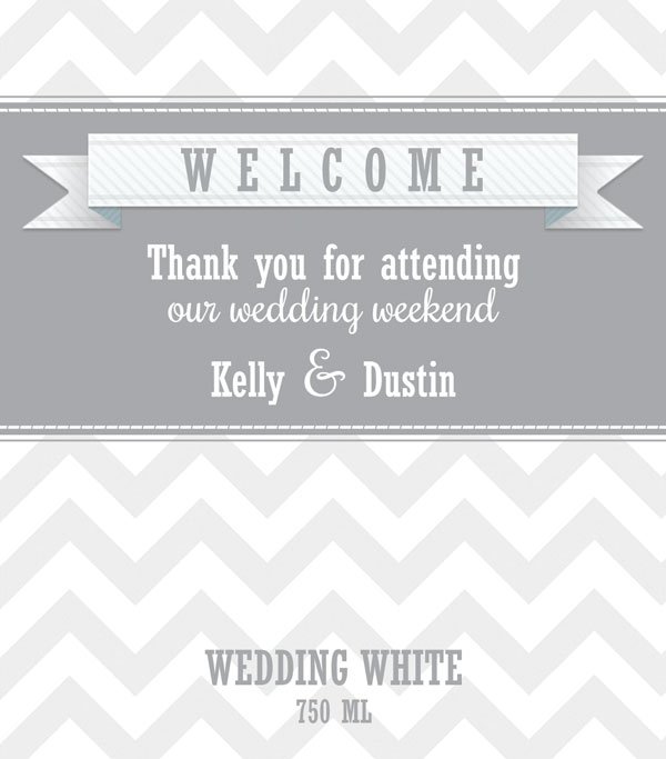 Wedding Wine Label with Chevron Pattern