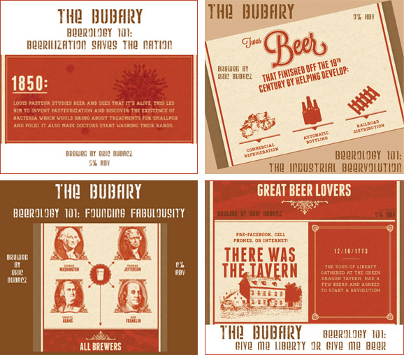Beerology labels with historical facts about beer labels