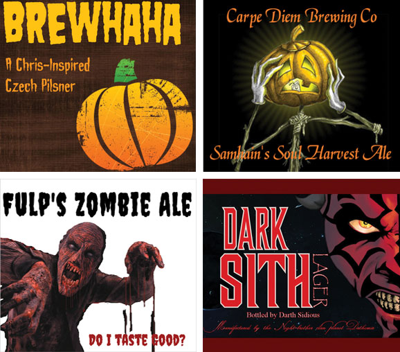 Halloween beer labels with pumpkins and a a zombie