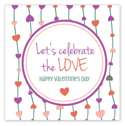 Three inch by three inch Valentine's Day label template Hearts-On-A-String