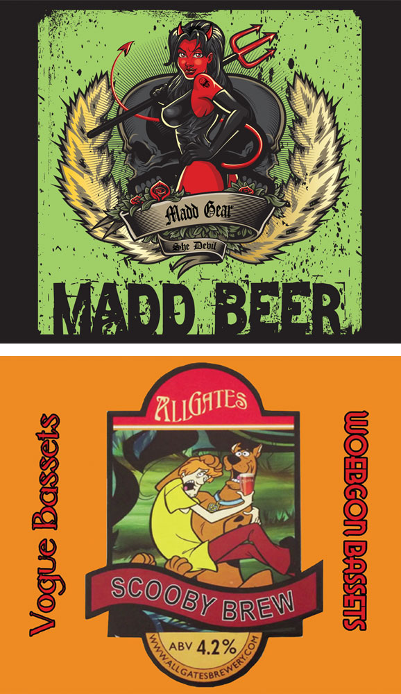 Pin up beer labels and cartoon character beer labels are popular themes