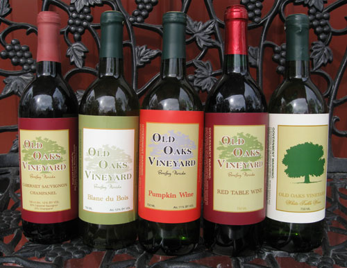 Wine labels by Bottle Your Brand for Old Oaks Vineyard