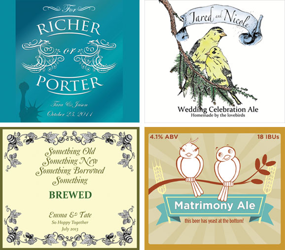 Four examples of wedding beer labels from our customer order files