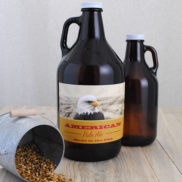 A growler with a custom made label from Bottle Your Brand.