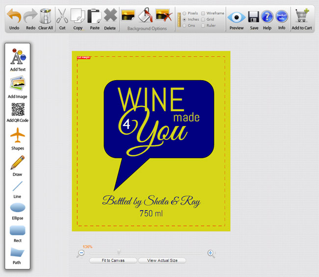 Make your own wine label online.