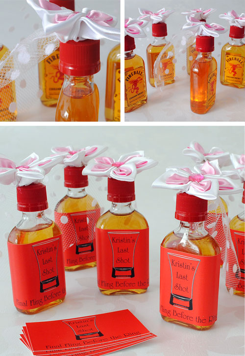 Mini Shot bottles decorated with a flowered bridal veil