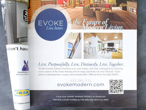 Example of QR code in an ad for real estate, found in a magazine.