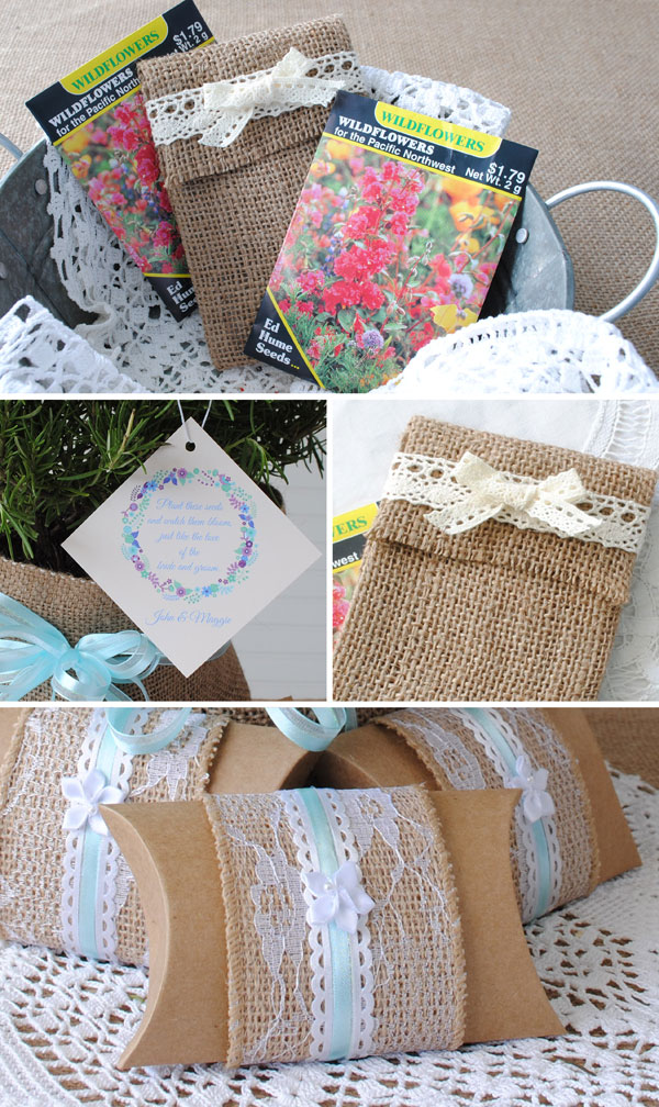 Make these burlap and lace theme party favors.