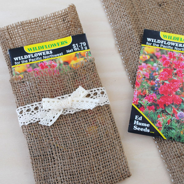 Put seed packets in your burlap envelope for party favors.