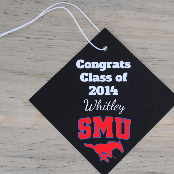 Add a mascot to a wine tag for easy college graduation party favors.