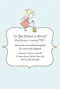 Custom Fairy Birthday Party Invitation With Matching Water Bottle Labels And Custom Label