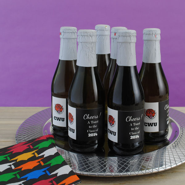 An easy graduation favor to make is mini wine bottle labels on mini bottles of sparkling cider.
