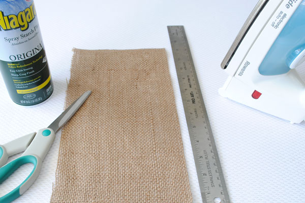 Some of the supplies to make a burlap envelope. No sewing needed.