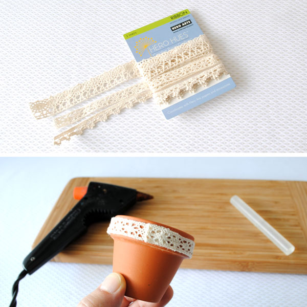 Lace edging for clay pot favors