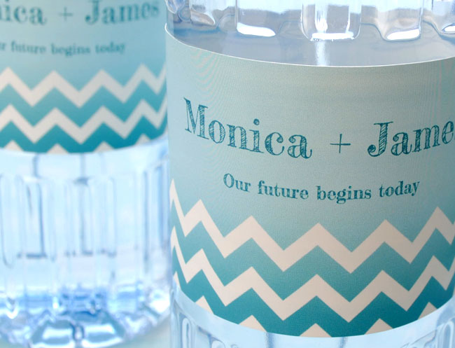 Close up of ombre water bottle labels on bottles