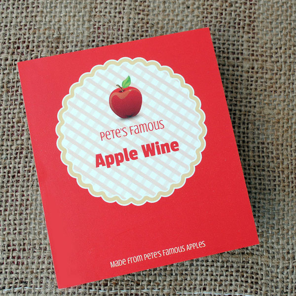 Template for apple wine label
